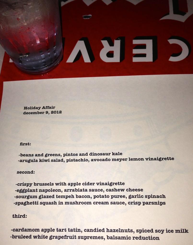 holiday menu at Sauced