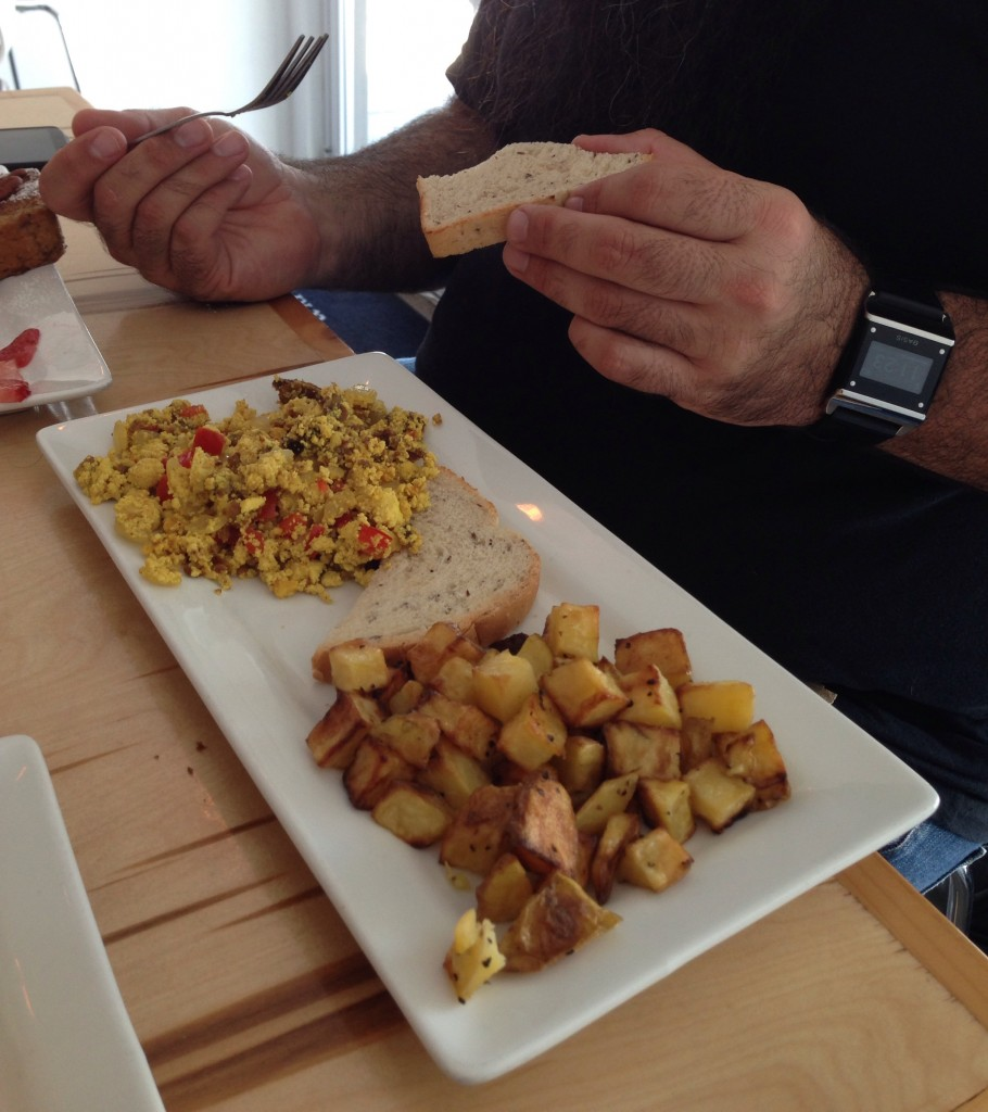 vegan gluten free tofu scramble and potatoes