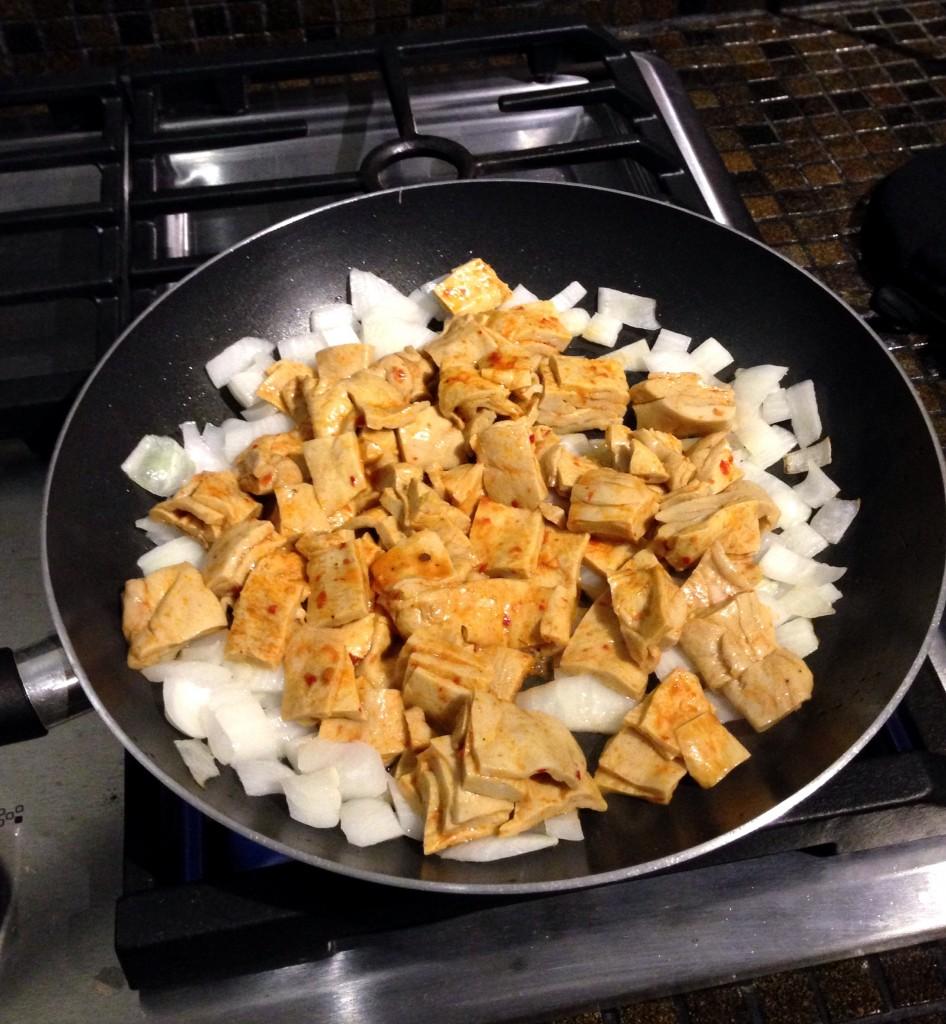 frying up wheat gluten in a pan