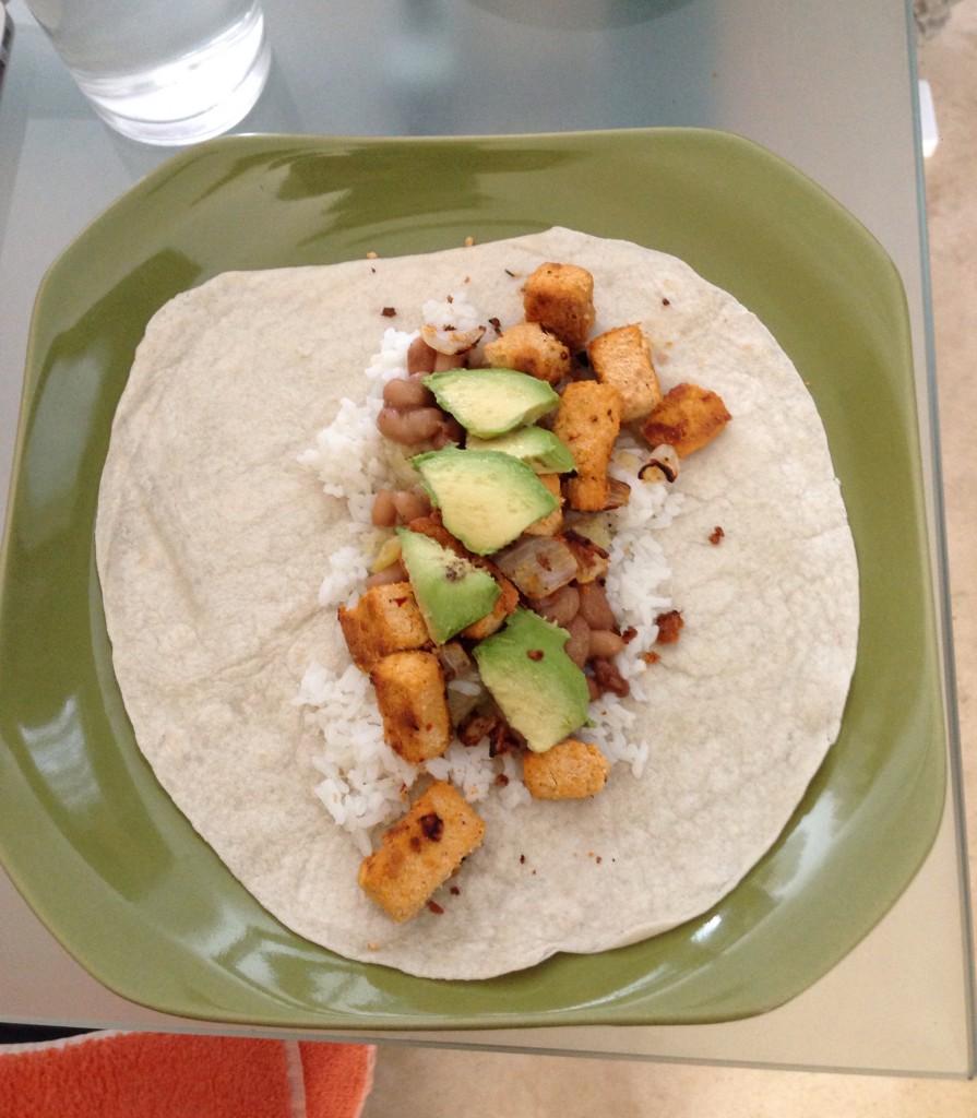 inside my vegan burrito